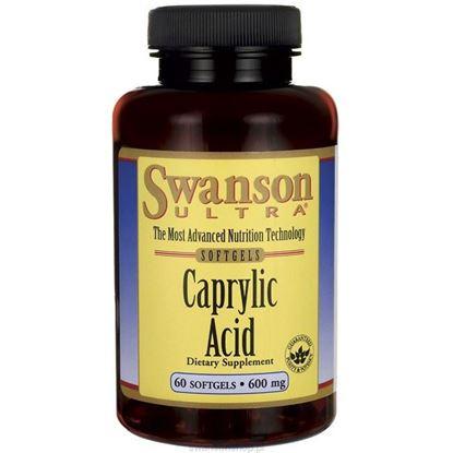 Obrazek SWANSON Kwas kaprylowy 600 mg 60 kaps.