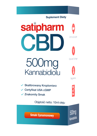 Satipharm CBD Kannab. olej smak cynamonowy 500 mg/op. 50ml