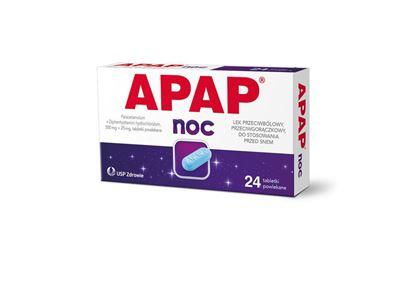 Obrazek APAP Noc 500 mg + 25mg,  24 tabletki
